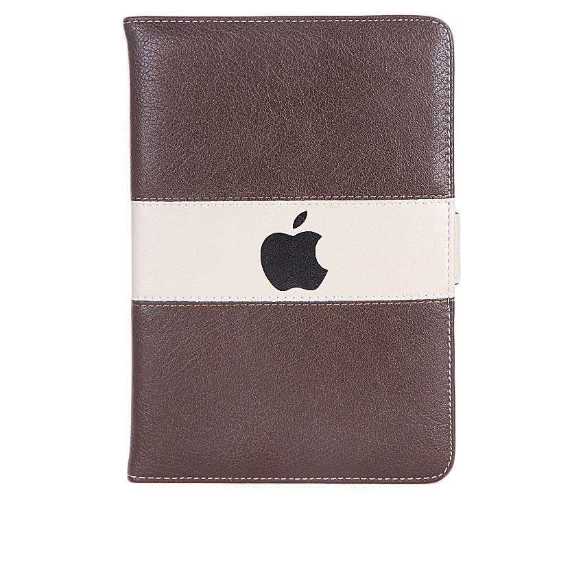 7-Inch Leather Case For Apple ipad Mini Tablet - Dark Brown/Cream