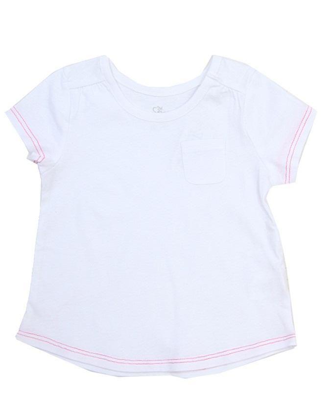 Girl's Round Neck  Pocket T- Shirt - White