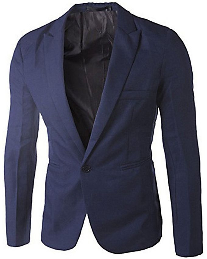 Slim Fit Men's Blazer Jacket - Navy Blue