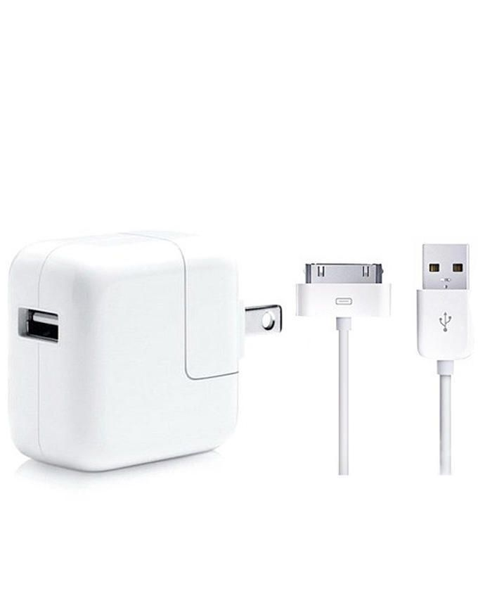 Travel Charger With USB Cable For iPad 2/3/4 - White