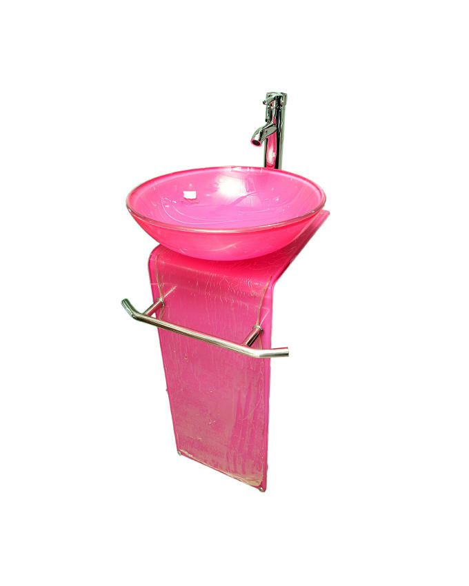 L-Shaped Glass Dining Wash Hand Basin - Pink