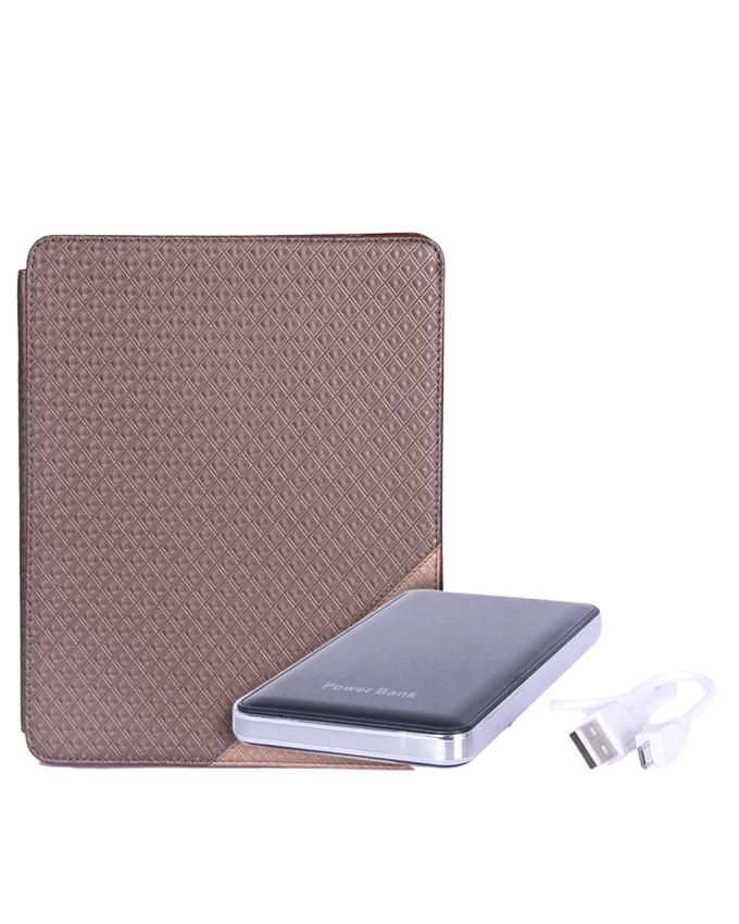 9.7-Inch Leather Case for Apple iPad - Brown + 12000mAh Mobile Power Bank - Silver