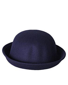 Fashion Suede Unisex Bowler Hat- Navy blue