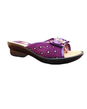 Rong Chen Classy Womens Wedge Slipper -Purple /Black
