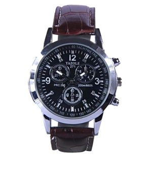 Yazole Mens Leather Wristwatch with Case - Brown