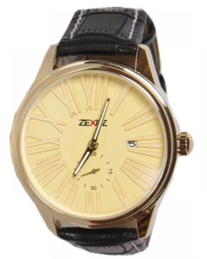 ZeXez Mens Leather Wristwatch - Black