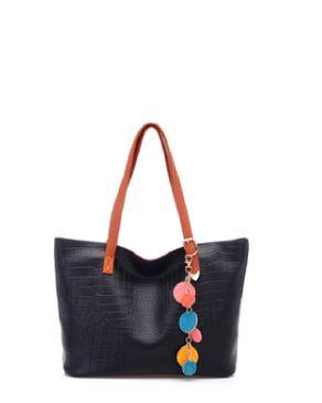 VISION FILL Croc Pattern Handbag - Black
