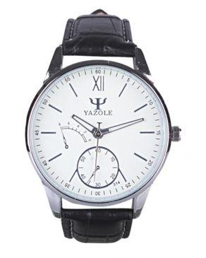 Yazole Mens Phantom Blue Mirror Leather Strap Wristwatch - Black