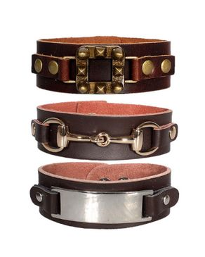Fashion 3 in 1 Wrist Band Unisex Leather Bracelet-Brown