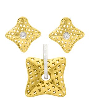 Trendy Woman Shinny Starlight Pendant & Earrings - Gold