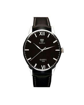 Yazole Luxury Leather Wrist Watch for Men - Black