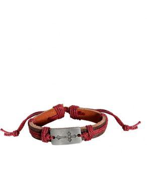Fashion Wrist Band Genuine leather Unisex Bracelet-Brown/Red