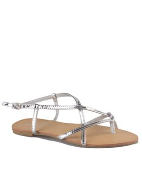 Super Mode Strappy Basic Sandals - Silver