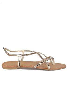 Super Mode Strappy Basic Sandals - Gold