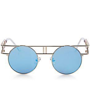 Generic Retro Round Frame Unisex Gothic Punk Color Coated Sunglasses - GOLD FRAME + BLUE LENS