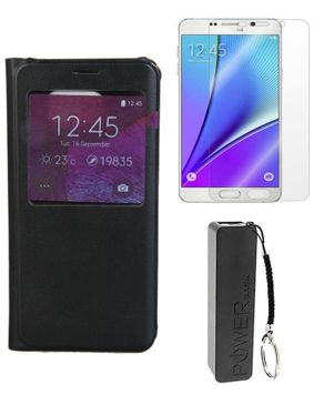 Universal S-View Flip Cover for Samsung Galaxy Note 5 - Black + Tempered Glass Screen Protector + 2600mAh Mobile Power Bank