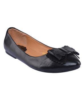 SMART LEO Peyton Ladies Comfy Flats with Bow Design - Black