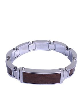 Universal Mens ID Bracelet with Brown Accent Stainless Steel