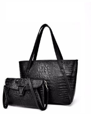 VISION FILL 2 In 1 Crocodile Pattern Handbag - Black
