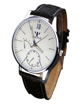 Yazole Mens Blue Ray Glass Leather Strap Wristwatch - Black