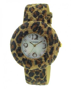 VERNIER Womens Animal Print Round Exotic Strap Fashion Watch - Brown