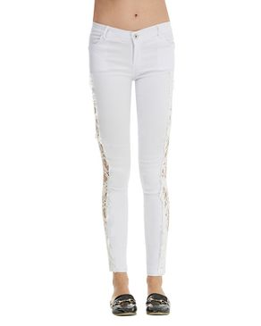 Gamiss Sexy Lace Stitching Slim Jeans - White