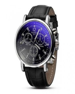 Yazole Unisex Faux Leather Analog Quartz Wristwatch - Black