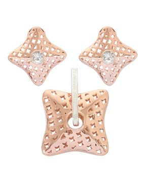 Trendy Woman Shinny Starlight Pendant & Earrings - Rose Gold