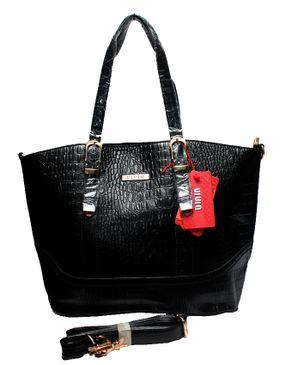 VIVIQ Crocodile Embossed Handbag - Black