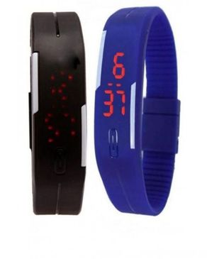 Universal 2 in 1 Ultra Thin Silicone Digital LED Sports Wrist Watch - Blue & Black