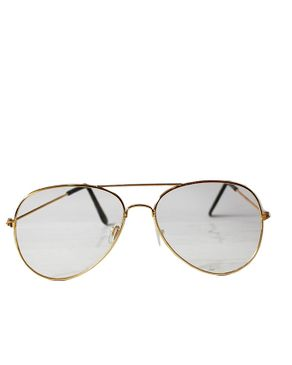 Fashion Unisex Aviator Trasnparent Specs-Gold