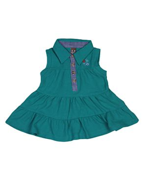Zara Kids Baby Girls Pleated Dress With Floral Crest - Green