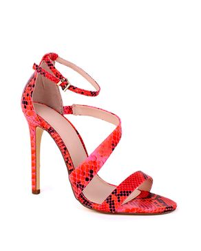Shoe Box Paris Asymmetric Animal Skin Heeled Sandals – Orange