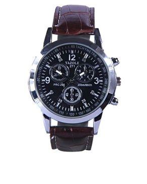 Yazole Mens Leather Wrist Watch - Brown