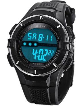 Diray Kids LED Digital Watch Date Display Waterproof - Black