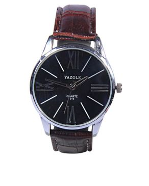 Yazole Leather Watch- Brown