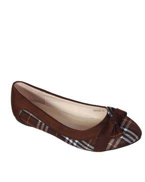Top Choice Check Bow Flats - Brown