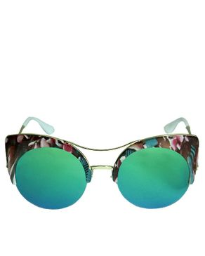 VISION FILL Metal Frame Cat Eyes Sunglasses with Case - Pink/Green
