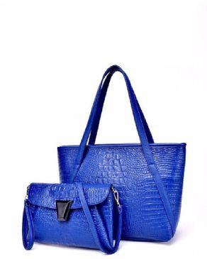 VISION FILL 2 In 1 Crocodile Pattern Handbag - Blue