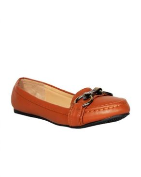 Siader Leather Flat Shoe with Bronze Buckle - Brown