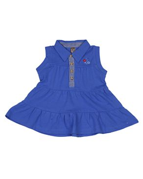 Zara Kids Baby Girls Pleated Dress With Floral Crest - Blue