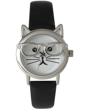 Olivia Womens Cat with Glasses Petite Watch - White Dial