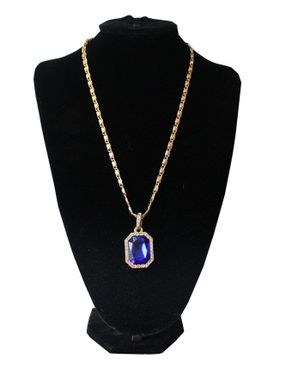 Fashion Unisex Bold Necklace with Pendant - Gold/Blue