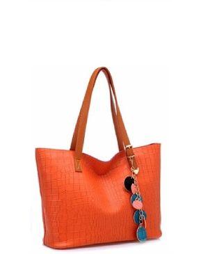 VISION FILL Textured Hand Bag - Orange