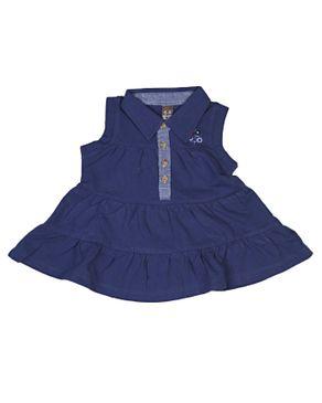 Zara Kids Baby Girls Pleated Dress With Floral Crest - Navy