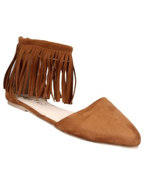 Rue 21 Ankle Strap Flat With Frills - Brown