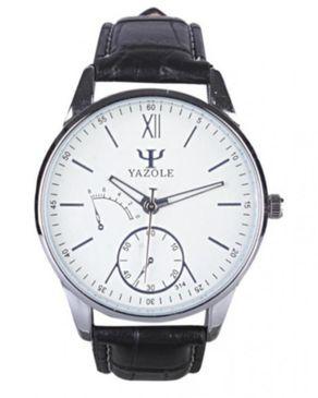 Yazole Mens Phantom Leather Strap Watch - Black
