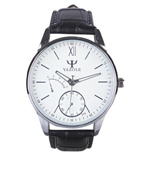 Yazole Mens Phantom Blue Glass Leather Strap Watch - Black