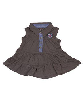 Zara Kids Baby Girls Pleated Dress With Heart Crest - Army Green