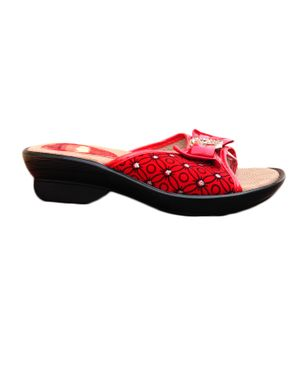 Rong Chen Classy Womens Wedge Slipper - Red/Black